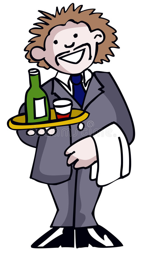 Waiter. With wine stock illustration