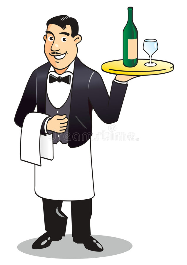 Waiter. Smiling affable waiter with salver vector illustration