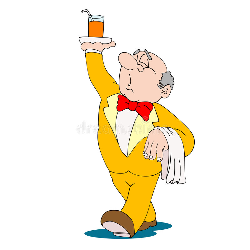 Waiter With Beverage On Tray In His Hand Royalty Free Stock Photo