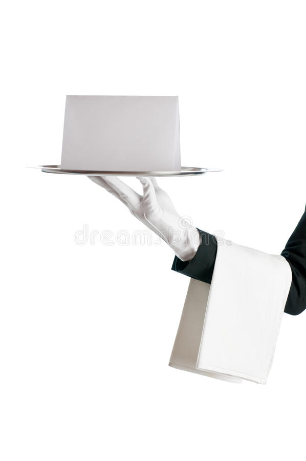 Waiter with blank sign royalty free stock images
