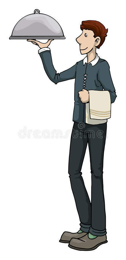 Waiter carrying a dish royalty free illustration