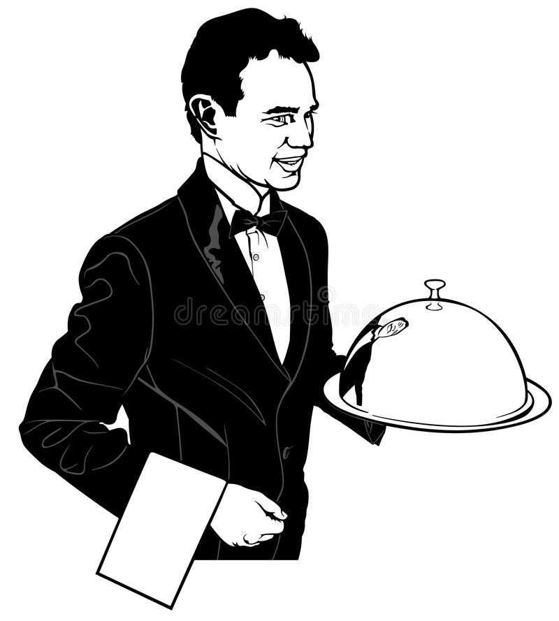 The Waiter Carrying a Main Dish stock illustration