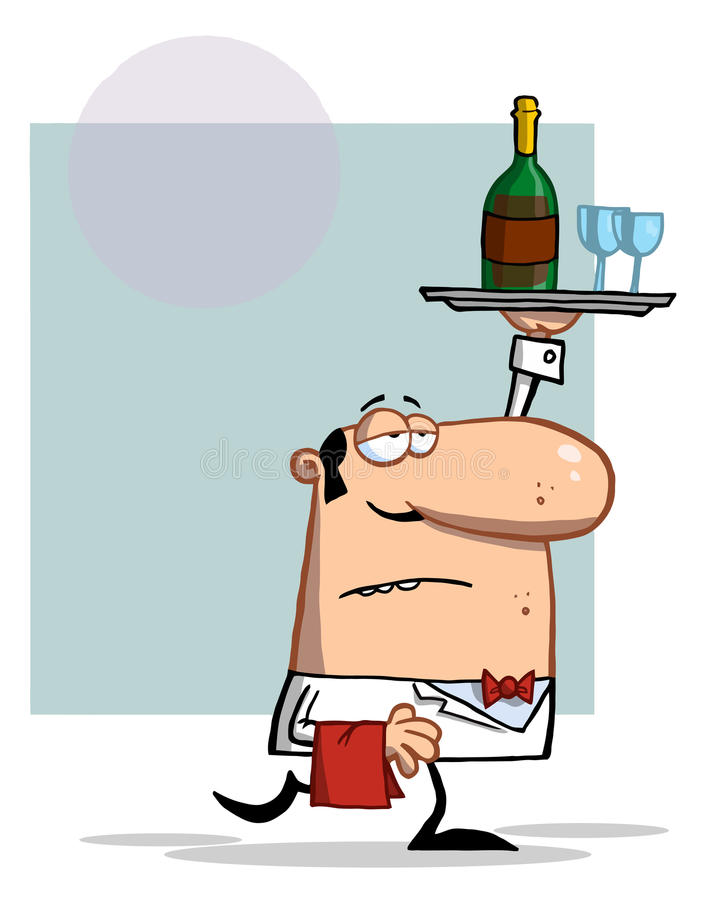 Waiter carrying a tray with wine royalty free illustration
