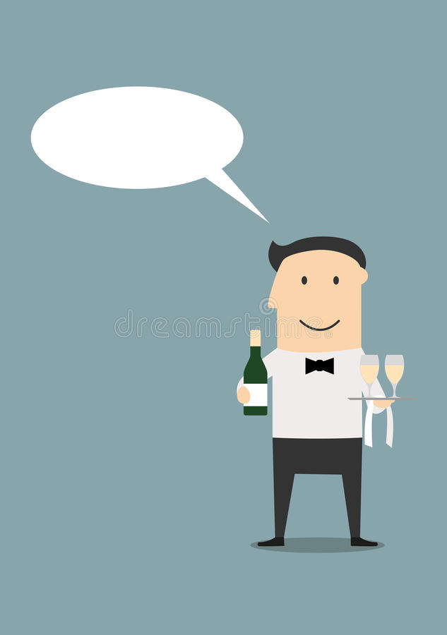 Waiter with champagne and wine glasses royalty free illustration