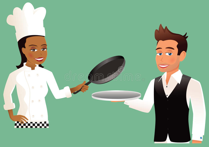 Waiter and Chef. An illustration of two people - one a waiter, the other a chef. Silver tray and saucepan have been left empty for your own food items. E.P.S. 10 stock illustration