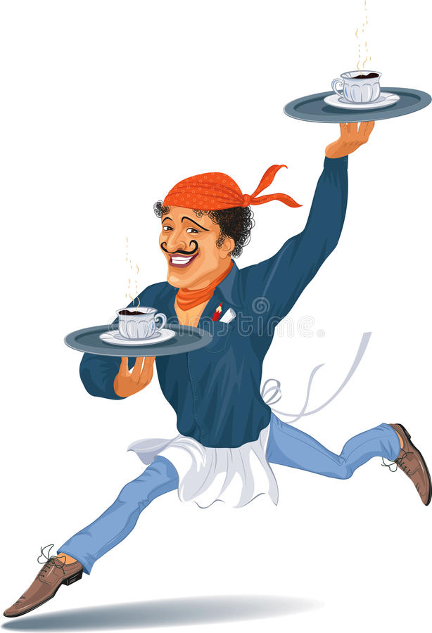 Download Waiter with coffee stock vector. Image of illustration - 25146031