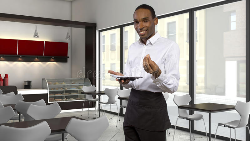 Waiter in a Coffeeshop royalty free stock photos