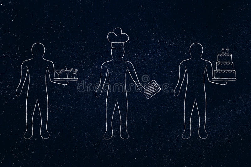 Waiter, cook and pastry chef, concept of jobs in the food industry. Men working in the hospitality and catering sector: waiter, cook and pastry chef vector illustration