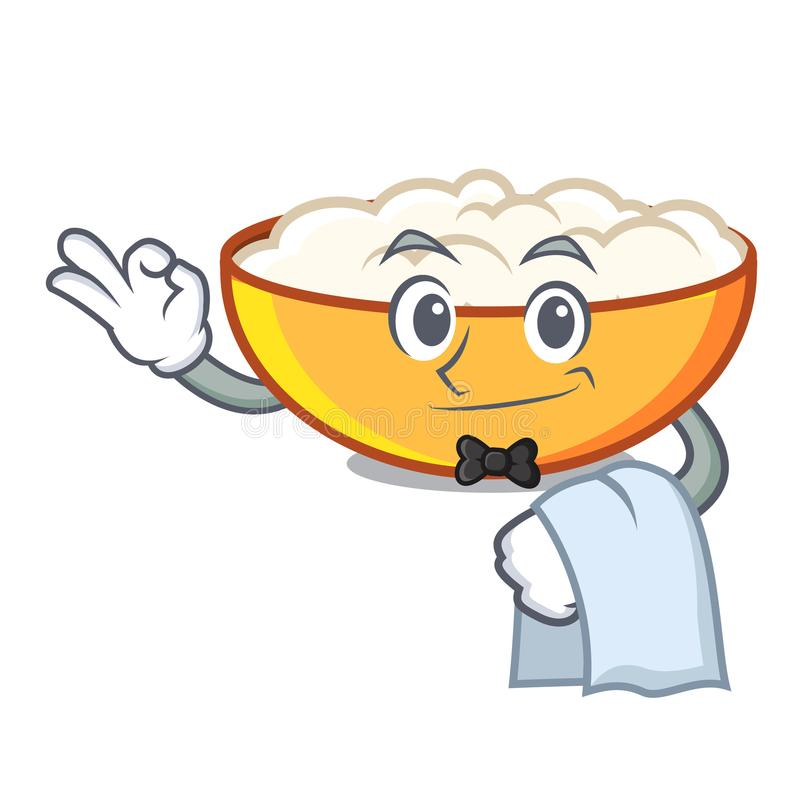 Waiter cottage cheese mascot cartoon. Vector illustration stock illustration