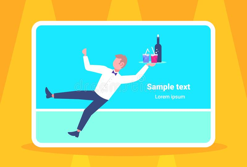 Waiter falling with tray wine glasses elegant man restaurant worker service staff failure accident concept flat. Horizontal full length copy space vector royalty free illustration