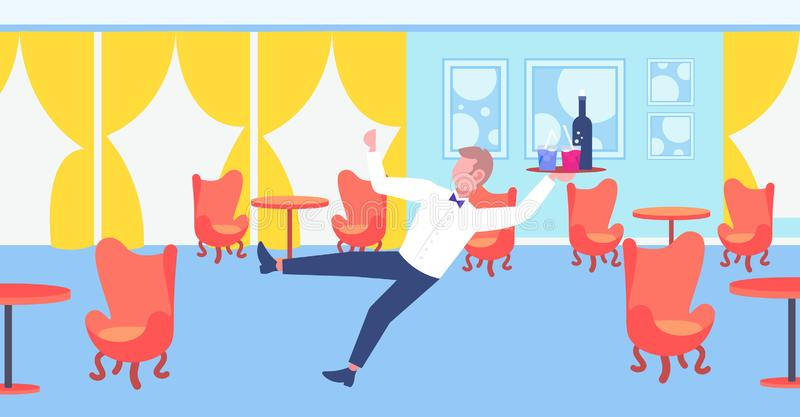 Waiter falling with tray wine glasses elegant man service staff failure accident concept modern restaurant interior flat. Horizontal full length vector stock illustration