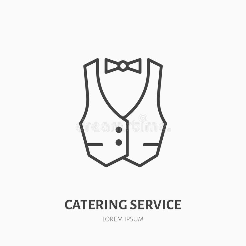 Waiter flat line icon. Vest, professional uniform sign. Thin linear logo for catering service.  stock illustration