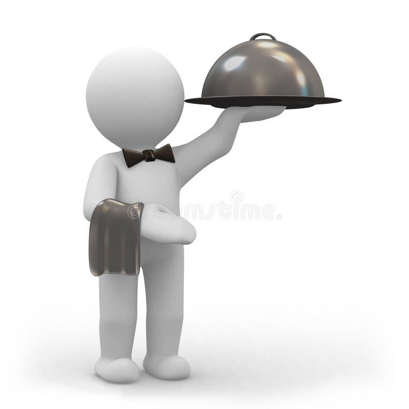 Waiter with food platter vector illustration