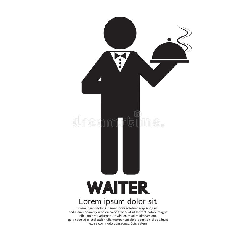 Waiter. With Food Platter Vector Illustration royalty free illustration