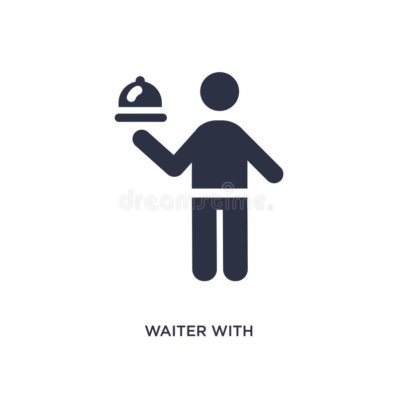 waiter with food tray icon on white background. Simple element illustration from behavior concept vector illustration