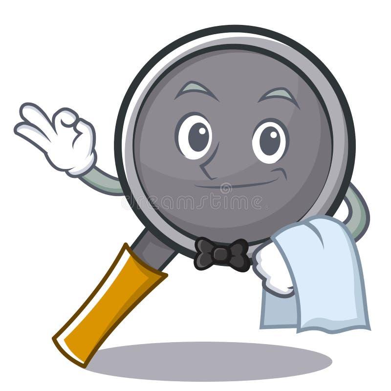 Waiter frying pan cartoon character. Vector illustration stock illustration