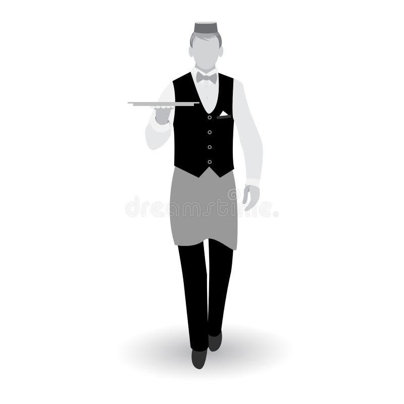 Waiter_gray vector illustration