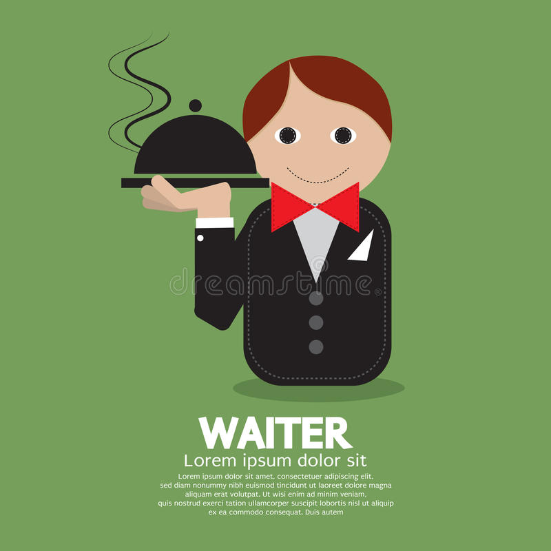 Waiter. On Green Background Vector Illustration royalty free illustration
