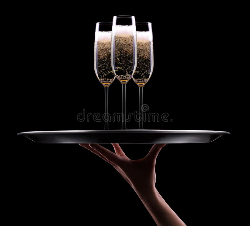 Download Waiter hand with champagne stock photo. Image of black - 35604180