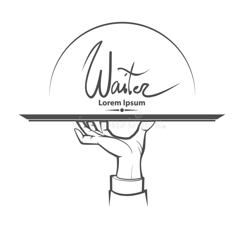 Waiter hand. Waiter, human hand with a tray, simple illustration royalty free illustration