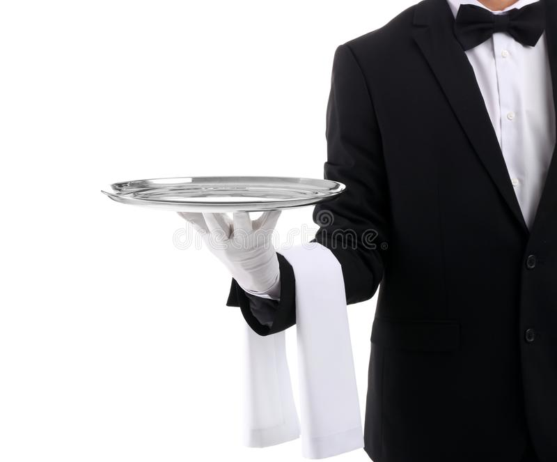 Waiter holding metal tray royalty free stock images