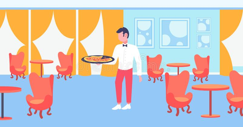 Waiter holding plate with hot pizza restaurant hospitality staff modern cafe interior horizontal flat full length. Vector illustration stock illustration