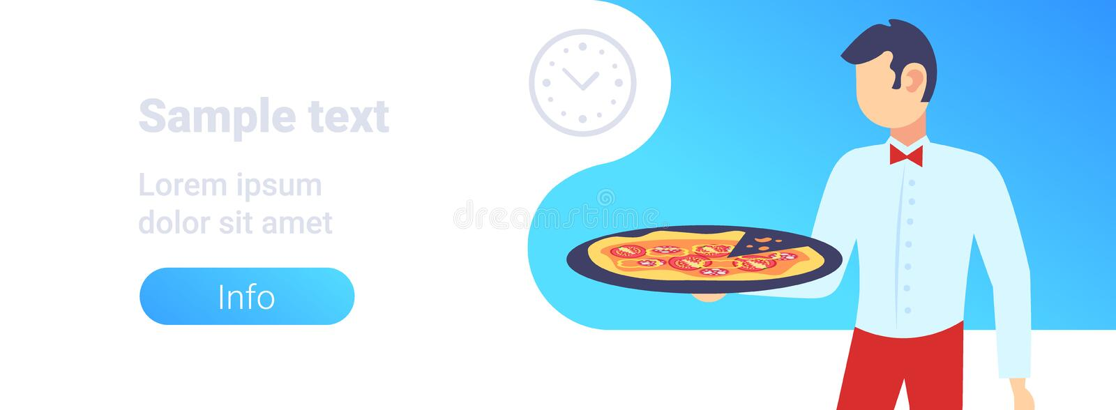 Waiter holding plate with hot pizza restaurant hospitality staff modern pizzeria horizontal banner flat portrait copy. Space vector illustration royalty free illustration