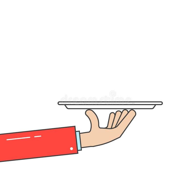Waiter holding plate in linear hand stock illustration