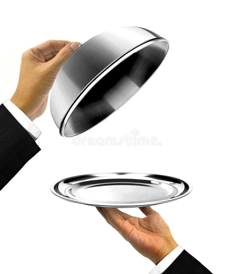 Waiter Holding Platter with Open Cover. Waiter Holding Platter with Open lid stock images