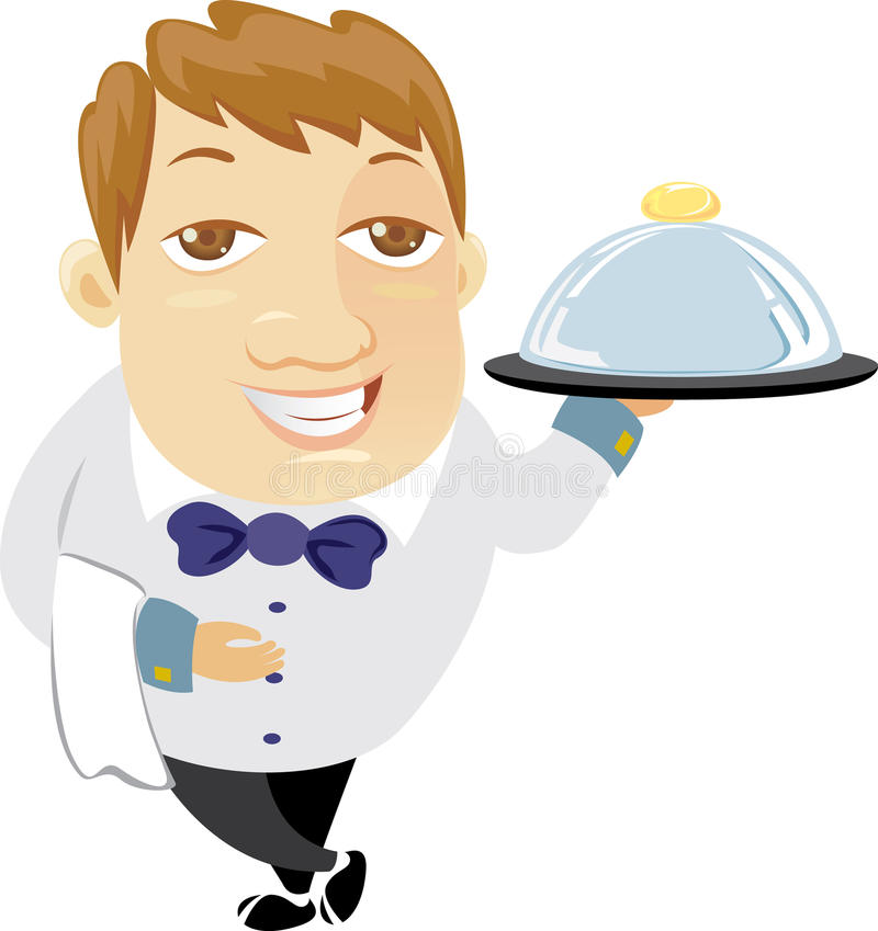 Download Waiter holding a tray stock vector. Image of standing - 21277934
