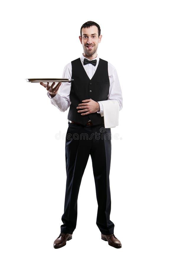 Waiter holding tray. Isolated over white background. royalty free stock photo