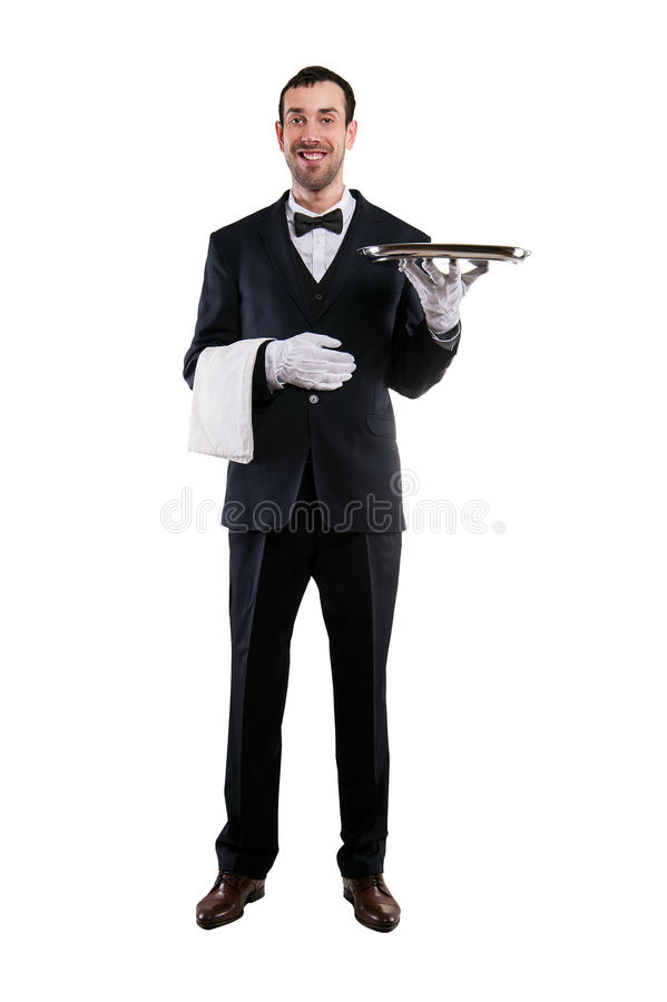 Waiter holding tray. Isolated over white background. Smiling but stock photography