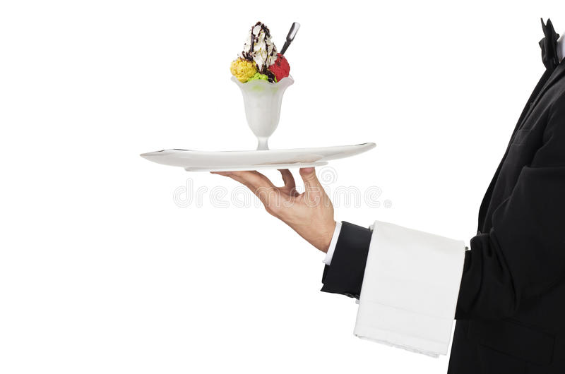 Waiter with ice cream stock photos