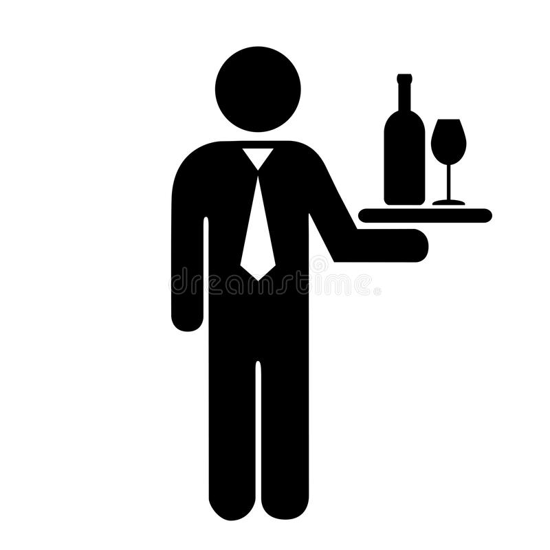 Waiter icon. Waiter vector icon on white background vector illustration