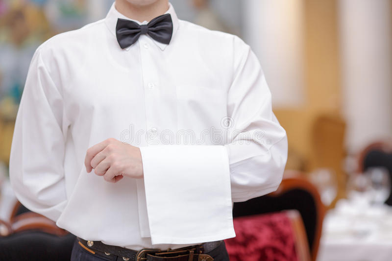 Waiter In the luxury restaurant royalty free stock photo