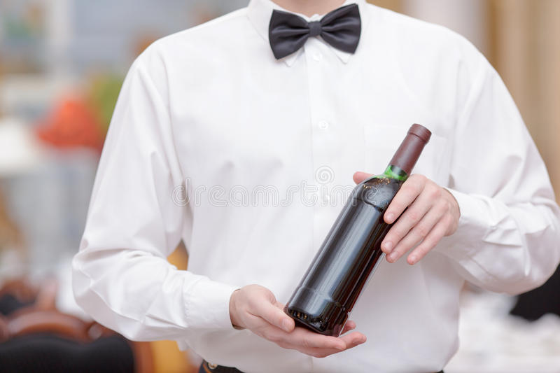 Waiter In the luxury restaurant stock photo