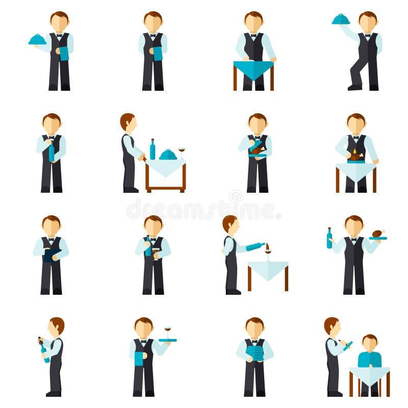 Waiter Man Icon Flat stock illustration
