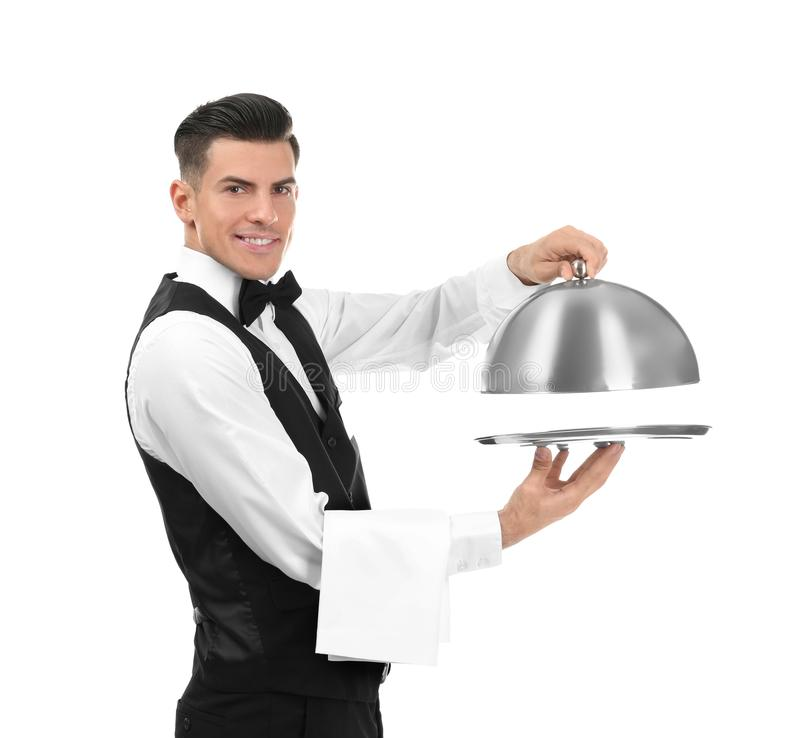 Waiter with metal tray and cloche. On white background royalty free stock images