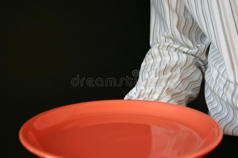 Waiter plate stock photography