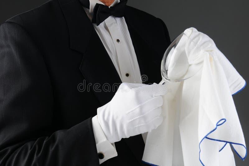 Download Waiter Polishing Wineglass Stock Images - Image: 27582844