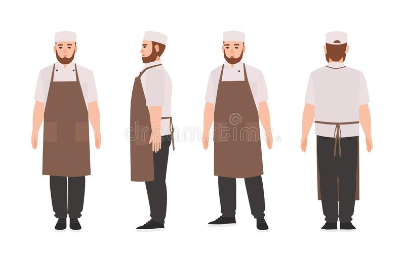 Waiter, professional restaurant and kitchen worker wearing apron. Cute male cartoon character isolated on white stock illustration