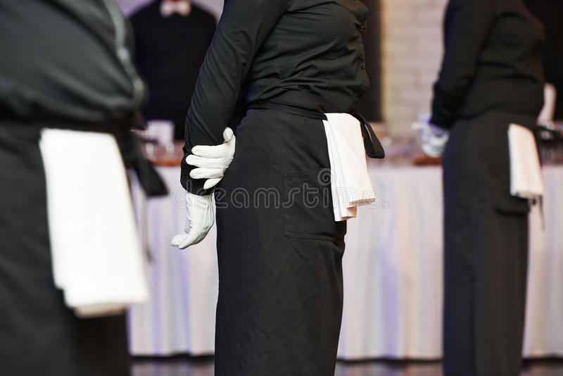 Waiter ready to service at party stock photos