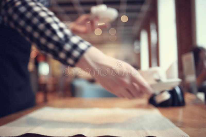 Waiter in the restaurant. Caters stock image