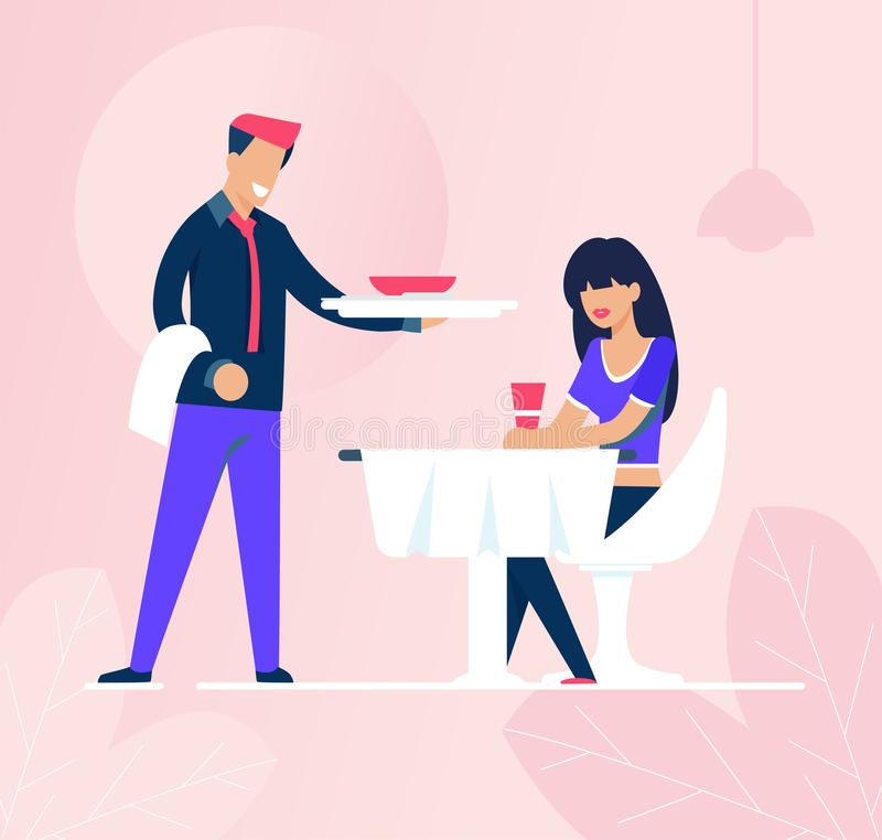 Waiter and Sad Woman Sitting Along in Restaurant. Flat Cartoon Girl Thinking Dreaming about Love and Drinking Coffee. Smiling Male Waitperson Bringing Food vector illustration