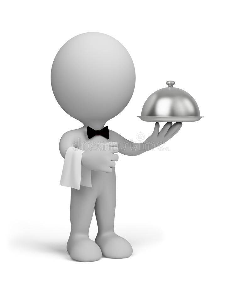 The waiter. Serves clients. 3d image. White background stock illustration