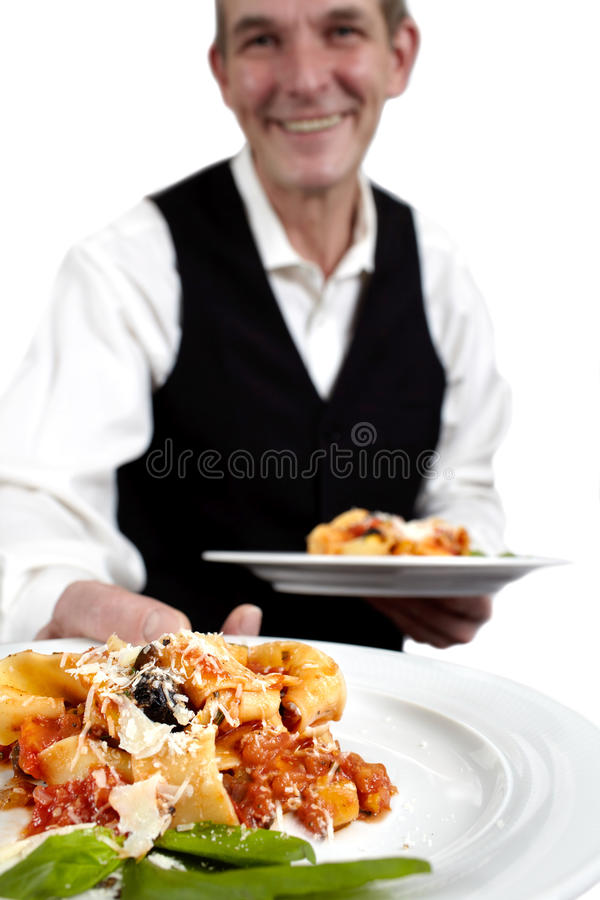 Download Waiter serves pasta stock photo. Image of male, formalwear - 24846294