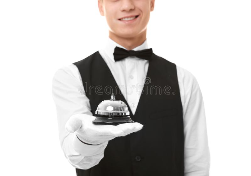 Waiter with service bell royalty free stock image