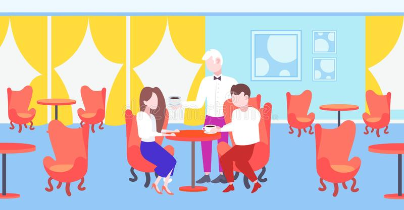 Waiter serving coffee to visitors couple sitting at restaurant table modern cafe interior staff hospitality concept. Horizontal flat full length vector vector illustration
