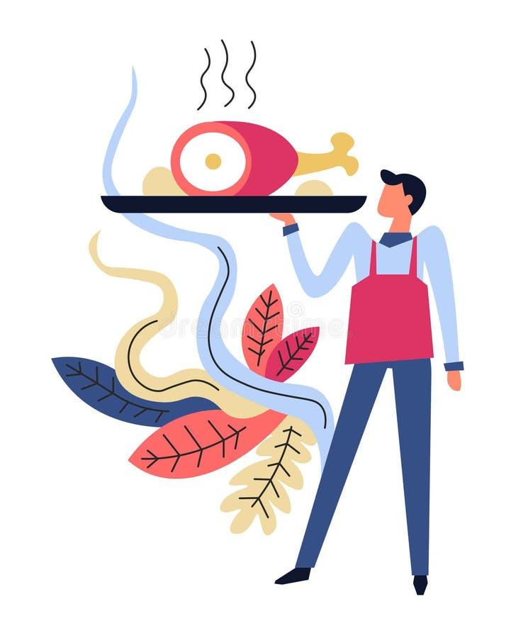 Waiter serving dish on plate, servant working in restaurant vector illustration