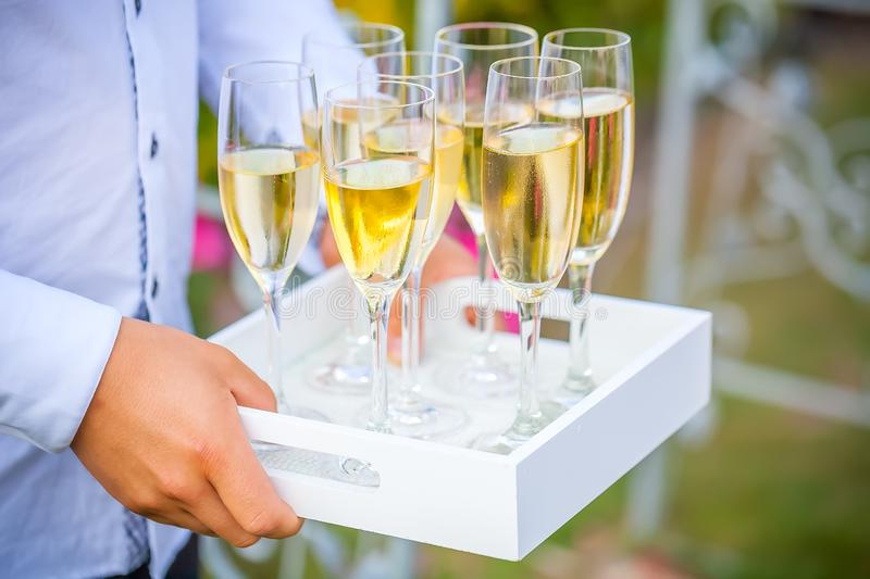 Waiter serving stylish golden champagne in glasses on tray. stock photos